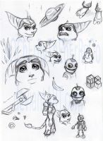 Ratchet and Clank sketches by oOChErRyThEbErRyOo