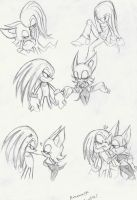 """Knuxouge"" doodles by DawnHedgehog555"