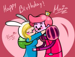 HappyBirthday and a gummybunny drawing by Xcoqui