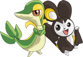 emolga and Snivy by Bloo-DKai12