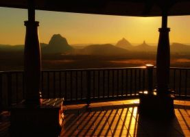 Glasshouse Mountains at Dusk by DrawMeDotComDotAu