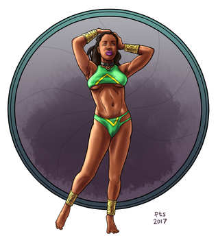 Superheroine Pinup - corrected colors by MajorKiz