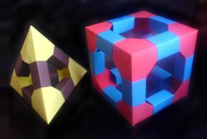 Tetrahedron and Cube by lonely--soldier