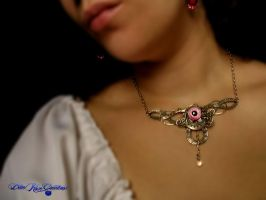 Pink and Antique Silver Circlet or Necklace2 by LadyPirotessa