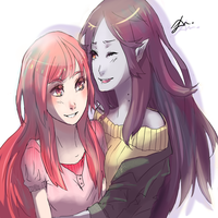 Bubblegum and Marceline by NobodysART