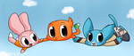 Anais,Darwin and Gumball by chibitracydoodles