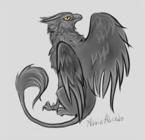 Dark grey gryphon sketch by AlviaAlcedo
