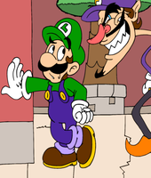Luigi and Waluigi by JamesmanTheRegenold