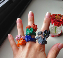 Cat Rings [FOR SALE] by HikariKage-Cat