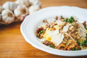 Creamy chantarelle pasta with parmesan cheese by CJacobssonFoto