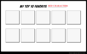 Top Ten Favorite Red Characters by SuperMarcosLucky96