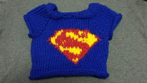 Superman knit baby sweater by rawrdoodles