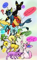 ~RANDOM FRIENDS TURNED EEVEELUTIONS YAY :D~ by KieCookie