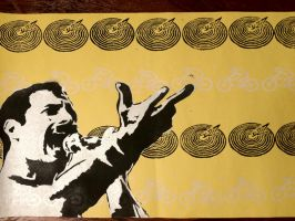 Freddy Mercury stencil/stamp print 2 by LeanaeffaY