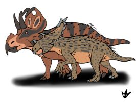 Machairoceratops and Spiclypeus by DinoBirdMan