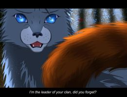 The scene between Tigerclaw and Bluestar by OokamiKuna