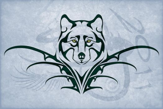 Wolf Tribal Tattoo Design by Amoebafire