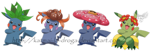 Pikachufication - Oddish evolutions by Katmai-la-droga