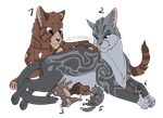 # SetPrice-Adoptables - Cat Family 2 - OPEN [5/6] by PinkPlushChicken