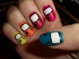GameBoy Color Nails by QueenAliceOfAwesome