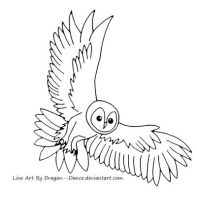 Tawny Owl Line Art by DansuDragon