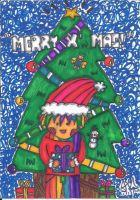 Rainbow boy celebrating Christmas by sandra1328