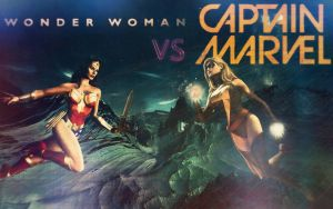 Wonder Woman VS Captain Marvel  Wallpaper by Theincrediblejake
