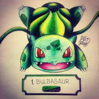 #001 Bulbasaur by lunablackkuran