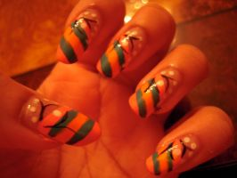 Orange and Green Nail Art by SkillfulCreations