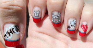 The Avengers Nailart: THOR by Saphiel89