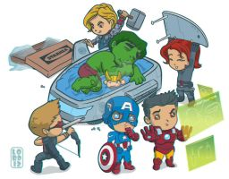 Lil Avengers Assemble...the Quin-Bed! 3D by lordmesa