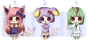 Adoptable batch: Pokemon gijinkas [CLOSED] by LushiAdopts