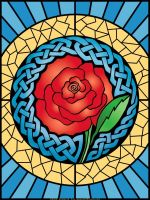 Celtic Rose 'Stained Glass' by foxvox