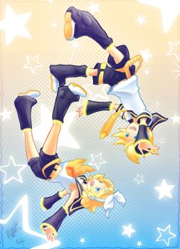 Falling Twins by meguminami123 by MidoriGale