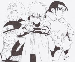 The Five Hokages inked by ydoc16