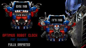 Optimus Robot Clock for xwidget (fully animated) by jimking