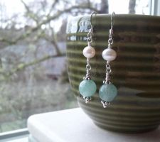 Victorian Adventurine with Pearl Earrings by QuintessentialArts