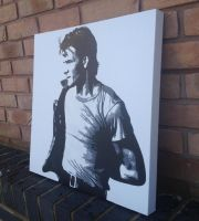 Patrick Swayze - SPrayPaint and Stencils on Canvas by RAMART79