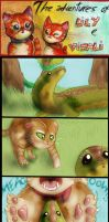 Two red cats - Strip 9 - Chasing lizards by FuriarossaAndMimma