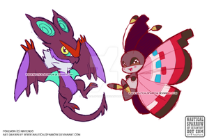 doodle 09 - chibi Noivern and Vivillon by NauticalSparrow