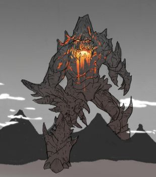 Two Word requests: Volcano Giant by Bored-Drawfriend