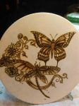10 inch Round Dragonfly and Butterfly Burn by WickedBurn