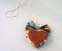 Heart Cream Cookie Necklace by prheat