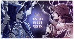 Dragon Age Valentines 2013 - Amell x Morrigan by aimo