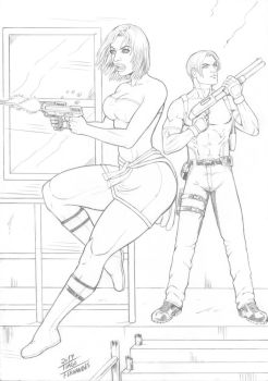 JILL and LEON , THE RESIDENT EVIL by TIAGO-FERNANDES