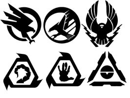 Faction symbols: GDI and Nod by Bioblood