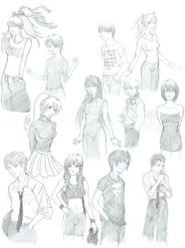 Compiled Character Sketches by kuroi-kai-den84