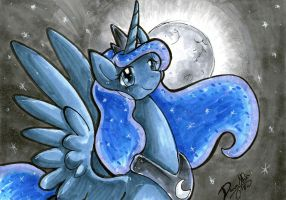Luna and the Moon by DawnAllies
