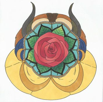 Mandala Beauty and the Beast - Color by MelodyLawrenceArt