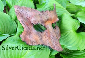Wood Grain Leather Fox Mask by SilverCicada